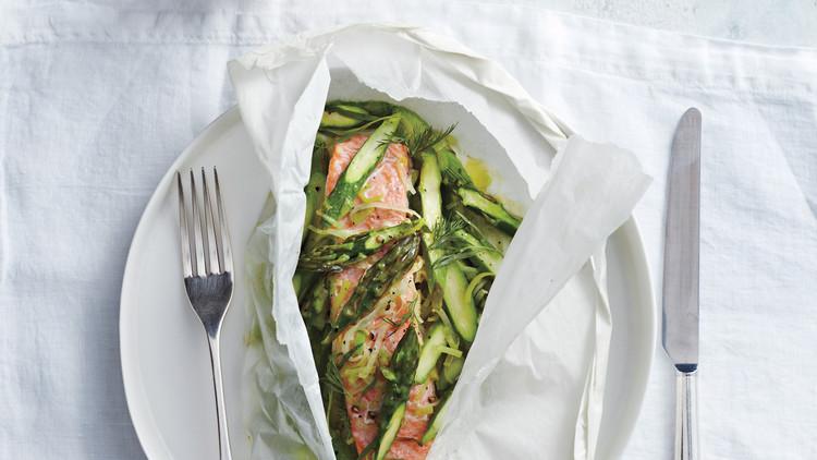 salmon asparagus leeks