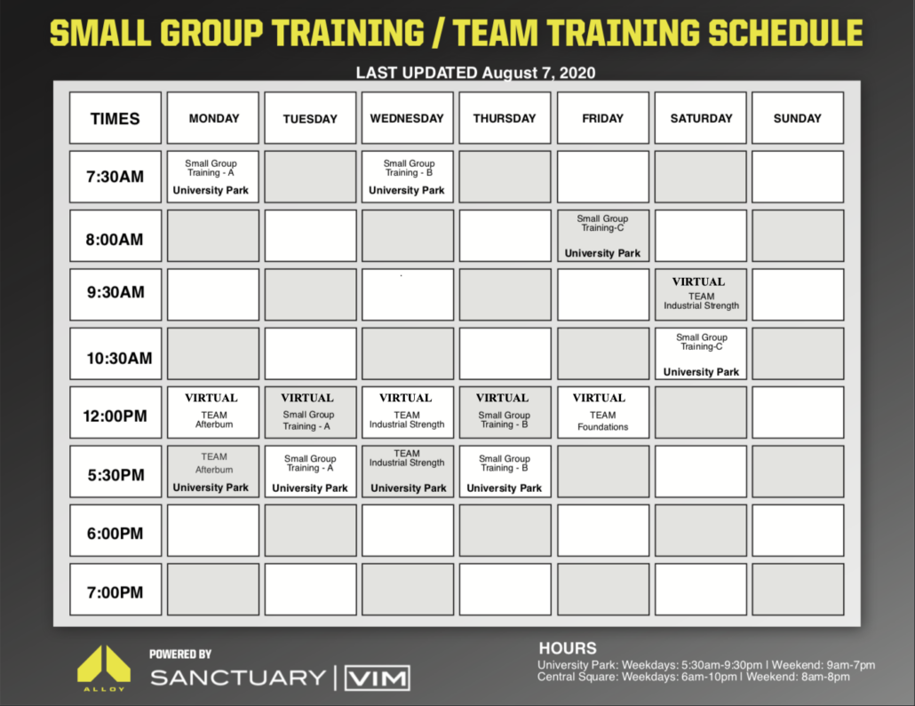 Small Group Training Schedule 8-7-2020