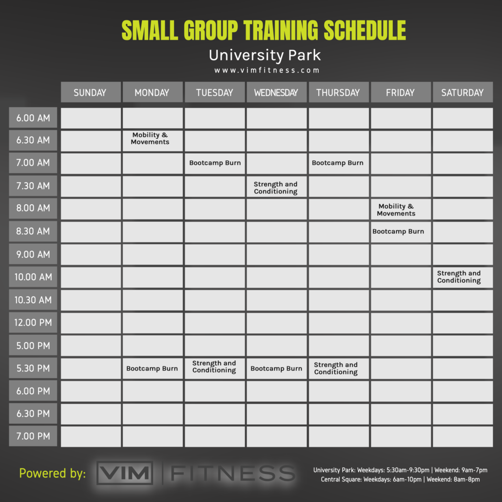 small group training schedule VIM